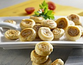 Puff pastry pinwheels with Emmental filling