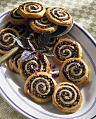 Puff pastry pinwheels with olive filling