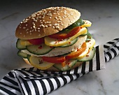 Vegetable burger with cheese