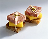 Bierwurst (pork & beef sausage) & mango on wholemeal toast