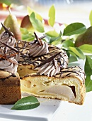 Pear cake with chocolate cream