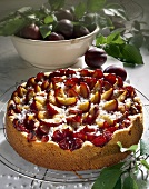 Plum cake with pearl sugar