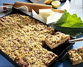 Rhubarb crumble cake on baking tray