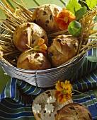 Raisin buns in bread basket