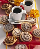Nut pinwheels with coffee