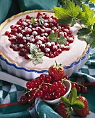 Strawberry and redcurrant tart with quark cream