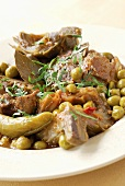 Lamb ragout with artichokes and peas