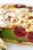 Pistachio fruit tart, a piece taken (close-up)