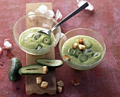 Cold avocado soup with croutons (Mexico)