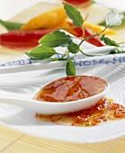 Hot chilli sauce on spoon
