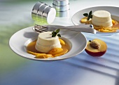 Panna cotta with nectarine compote