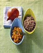 Chestnut spaetzle with pumpkin ragout