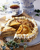 East Frisian Knüppeltorte (Pancake cake with almonds)