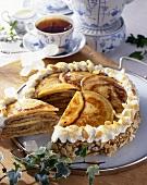 East Frisian Knüppeltorte (Pancake cake with almonds)