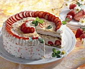Strawberry gateau with cream & puff pastry, a piece taken