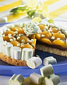 Apricot flan with marshmallows