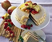 Paradise cake with exotic fruit