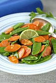 Mangetout and carrots with lime butter