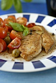 Marinated redfish with tomatoes and olives