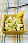 Celery salad in rectangular dish