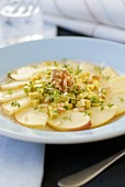 Apple and avocado carpaccio with cress and walnuts