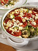Courgette bake with buckwheat, tomatoes and feta