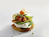Rosti with soft cheese, roasted vegetables & smoked salmon