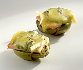 Artichokes topped with kassler (cured pork) & toasted cheese