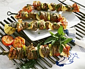 Grilled chicken liver kebabs