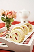 Sponge roll with strawberry filling