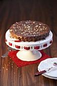 Chilli chocolate cake on cake stand