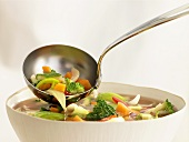 Vegetable soup in bowl and ladle