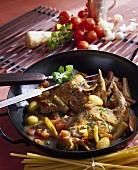 Rabbit legs in mustard sauce cooked in wok