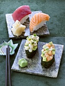 Assorted sushi with ginger and wasabi