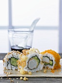 Inside-out rolls with soy sauce