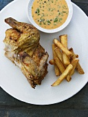 Chicken with chips and herb sauce