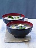 Miso soup with tofu and seaweed (Japan)