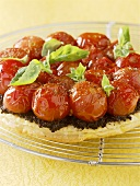 Tomato tart with tapenade and basil