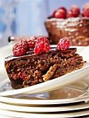 Piece of chocolate raspberry cake