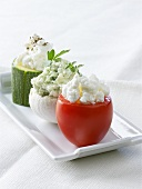Vegetables stuffed with fresh goat's cheese