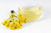 Cup of tea, ragwort flowers beside it