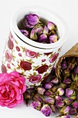 Dried rosebuds in containers