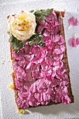 Mazurek (Polish Easter cake) decorated with flower petals