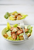 Caesar salad with chicken, avocado and croutons
