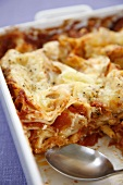 Tomato lasagne in baking dish (detail)