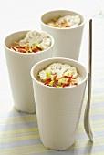 Cauliflower cream with mascarpone & pancetta in three beakers