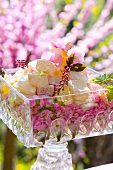 Turkish Delight on wild roses in glass dish