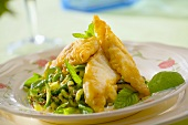 Deep-fried cod fillets with minted cabbage salad