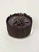 Chocolate cake with chocolate roses for special occasion