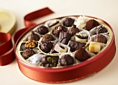 Assorted chocolates in red box